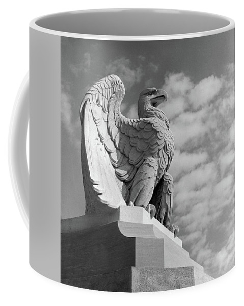 Photography Coffee Mug featuring the photograph 1960s Eagle Statue Against Sky Clouds by Vintage Images