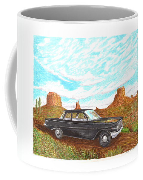 Watercolor Art Of 1961 Chevrolet Biscayne 409 In Monument Valley Coffee Mug featuring the painting 1961 Chevrolet Biscayne 409 In Monument Valley by Jack Pumphrey