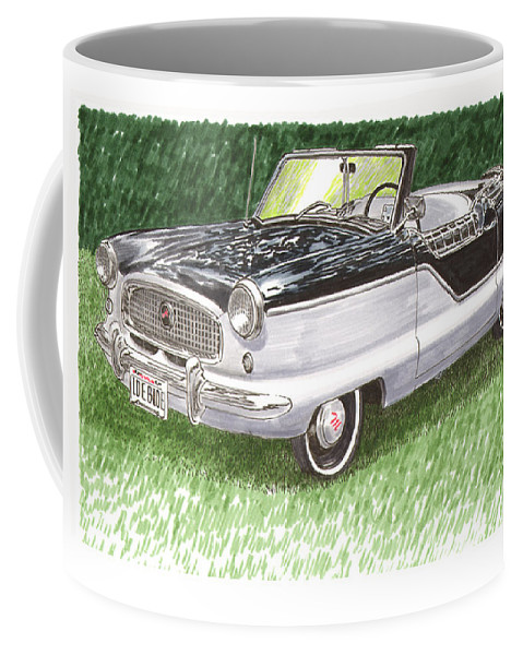 Framed Art Of The 1949 To 1961 Studebakers Coffee Mug featuring the painting 1961 Nash Metro Convertible by Jack Pumphrey