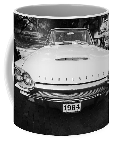 1964 Ford Thunderbird Coffee Mug featuring the photograph 1964 Ford Thunderbird Painted Bw by Rich Franco