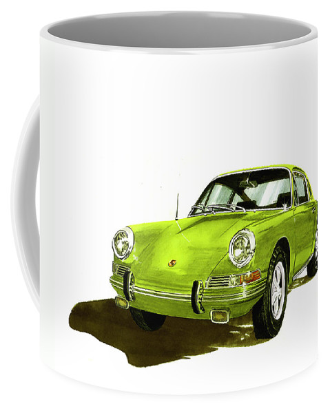 Watercolor Painting Of 1967 Porsche 911 Sportscar Coffee Mug featuring the painting 1967 Porsche 911 by Jack Pumphrey
