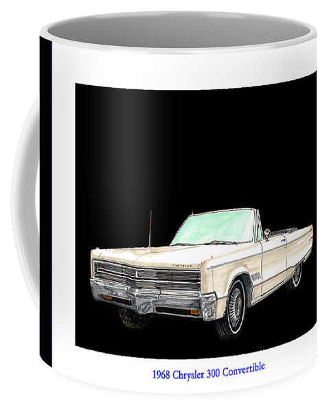 1968 Chrysler 300 Convertible Artwork By Jack Pumphrey Coffee Mug featuring the painting 1968 Chrysler 300 Convertible by Jack Pumphrey