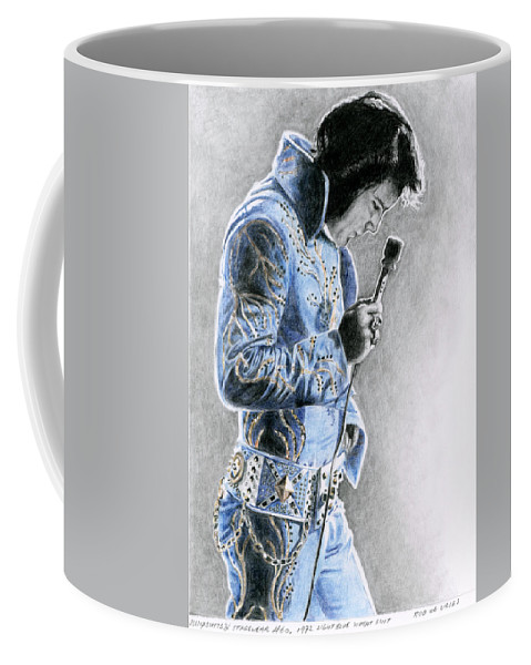 Elvis Coffee Mug featuring the drawing 1972 Light Blue Wheat Suit by Rob De Vries