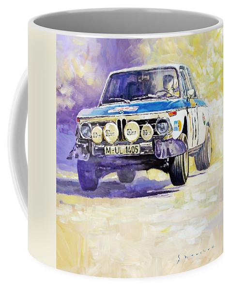 Acrilic On Canvas Coffee Mug featuring the painting 1973 Rallye Of Portugal Bmw 2002 Warmbold Davenport by Yuriy Shevchuk