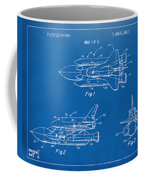 1975 space shuttle patent blueprint coffee mug for sale by nikki front right view malvernweather Images