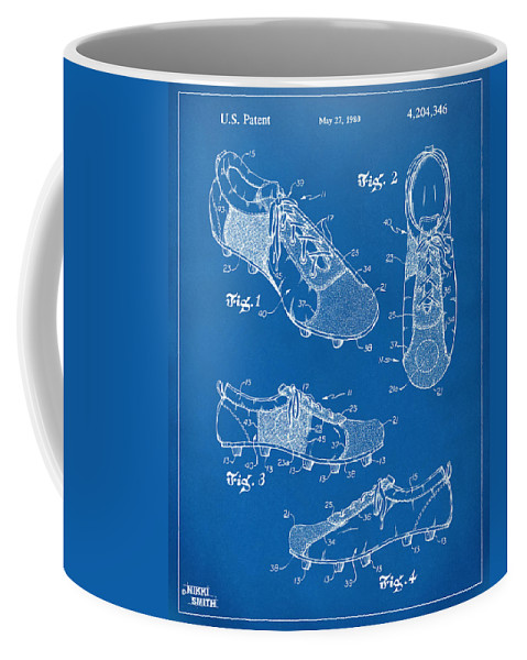 Soccer Coffee Mug featuring the digital art 1980 Soccer Shoes Patent Artwork - Blueprint by Nikki Marie Smith