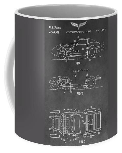 Corvette Patent Coffee Mug featuring the digital art 1983 Corvette Patent by Dan Sproul