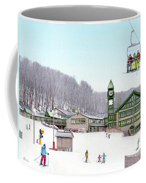 Hidden Valley Coffee Mug featuring the painting 1st Snow At Hidden Valley by Albert Puskaric