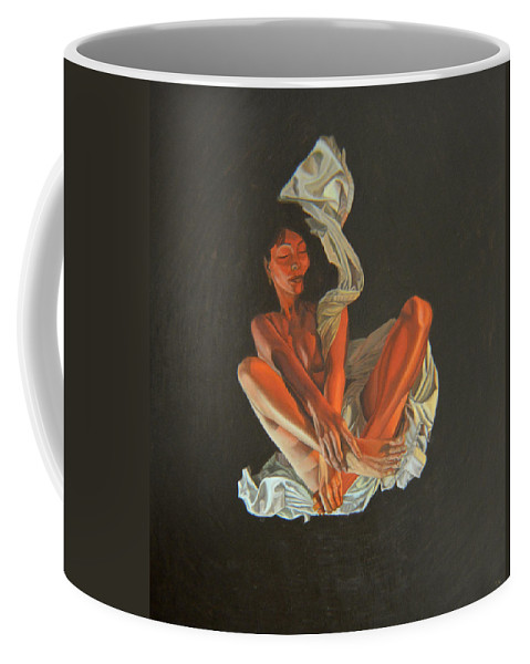 Semi-nude Coffee Mug featuring the painting 2 30 Am by Thu Nguyen