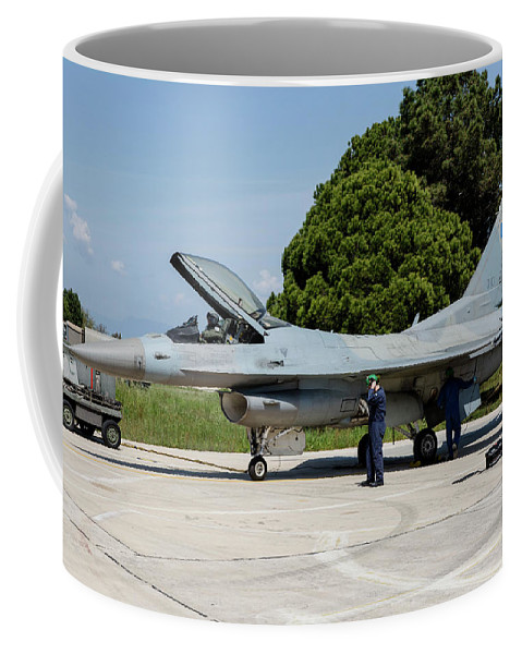 Greece Coffee Mug featuring the photograph A Hellenic Air Force F-16c Block 52+ by Timm Ziegenthaler