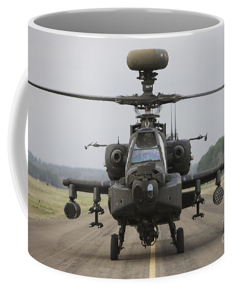 Aircraft Coffee Mug featuring the photograph Ah-64 Apache Helicopter On The Runway by Terry Moore