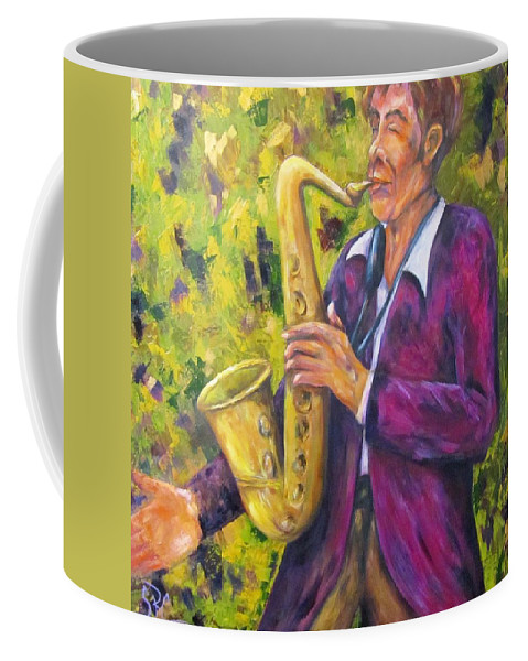 Saxophone Player Coffee Mug featuring the painting All That Jazz, Saxophone by Sandra Reeves