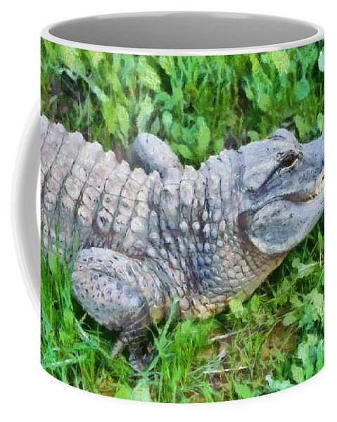 America Coffee Mug featuring the painting American Alligator by George Atsametakis