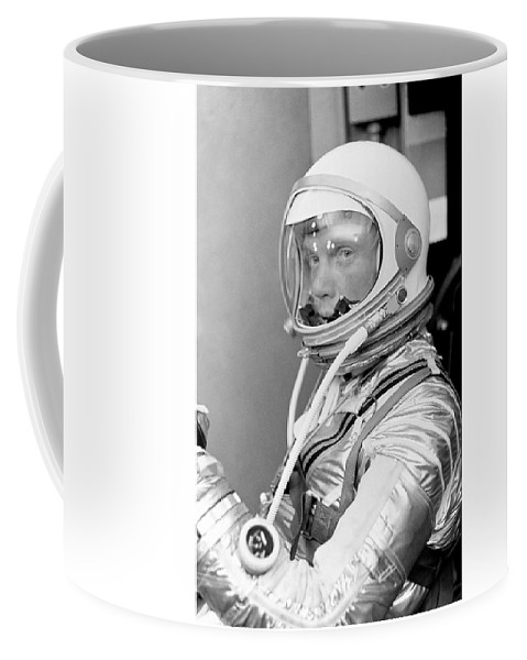 John Glenn Coffee Mug featuring the photograph Astronaut John Glenn - Mercury Atlas 6 by War Is Hell Store