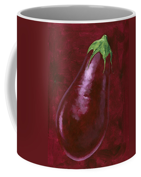 Aubergine Coffee Mug featuring the painting Aubergine by Brian James
