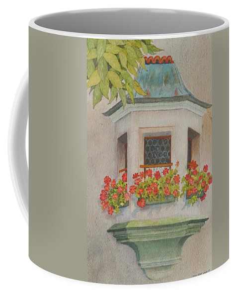 St. Wolfgang Coffee Mug featuring the painting Austrian Window by Mary Ellen Mueller Legault
