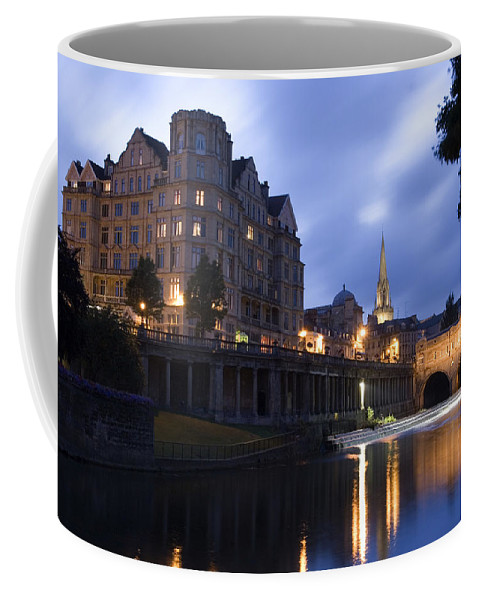 Bath Coffee Mug featuring the photograph Bath City Spa Viewed Over The River Avon At Night by Mal Bray