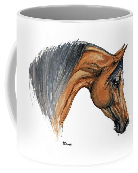 Horse Coffee Mug featuring the painting Bay Arabian Horse Watercolor Painting by Angel Ciesniarska