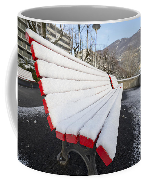 Bench Coffee Mug featuring the photograph Bench With Snow by Mats Silvan