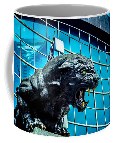 Action Coffee Mug featuring the photograph Black Panther Statue by Alex Grichenko