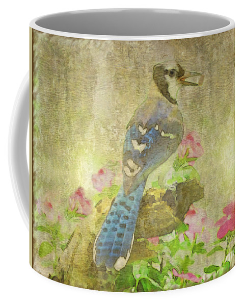 Jay Coffee Mug featuring the photograph Blue Jay With Texture by Debbie Portwood
