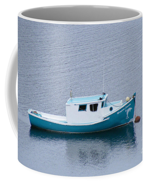 Blue Boat Coffee Mug featuring the photograph Blue Moored Boat by Barbara Griffin