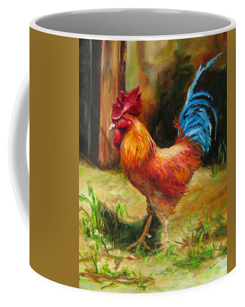 Bird Coffee Mug featuring the painting Blue-tailed Rooster by Diane Kraudelt
