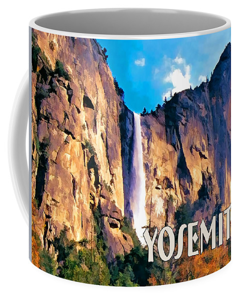 Scenic Landscape Park National+park Mountains Waterfall Water+fall West Western Yosemite Rugged California Coffee Mug featuring the painting Bridal Veil Falls Yosemite National Park by Elaine Plesser