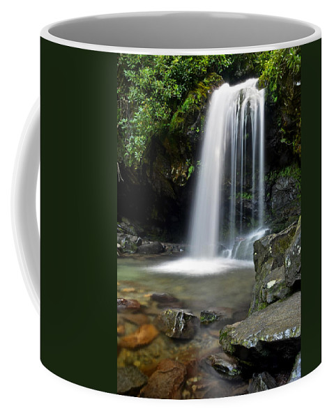 Grotto Coffee Mug featuring the photograph Cascading Falls by Frozen in Time Fine Art Photography