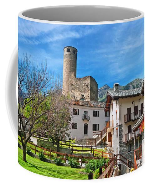 Alps Coffee Mug featuring the photograph Chatelard Village With Castle by Antonio Scarpi
