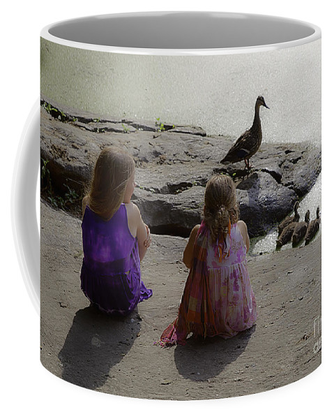 Children Coffee Mug featuring the photograph Children At The Pond 3 by Madeline Ellis