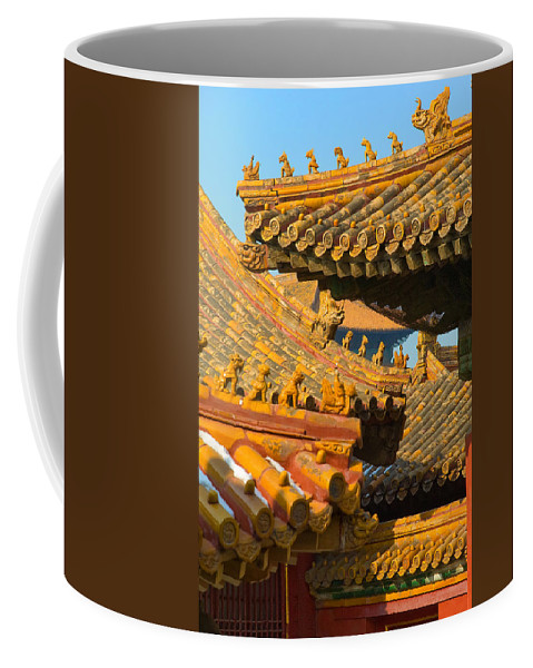 China Coffee Mug featuring the photograph China Forbidden City Roof Decoration by Sebastian Musial
