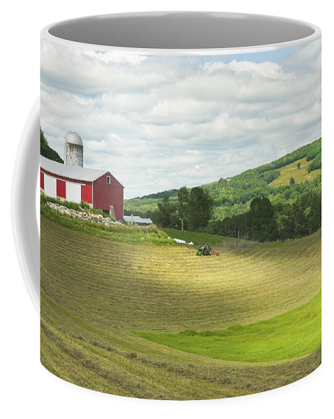 Maine Coffee Mug featuring the photograph Cutting Hay In Summer On Maine Farm by Keith Webber Jr