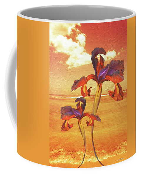 Iris Coffee Mug featuring the painting Dancing In The Sunset by Angela Stanton