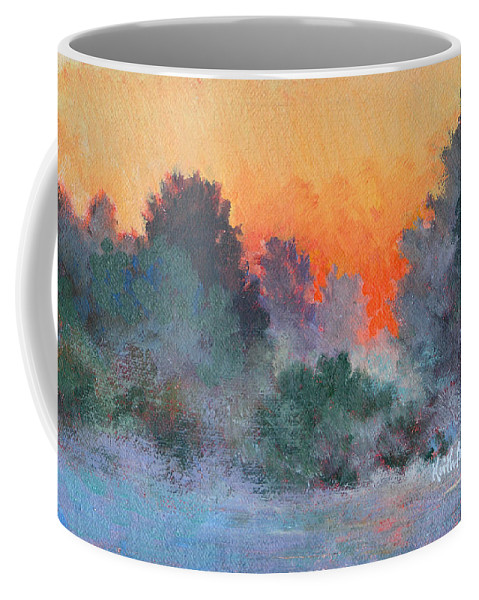Impressionism Coffee Mug featuring the painting Dawn Mist by Keith Burgess