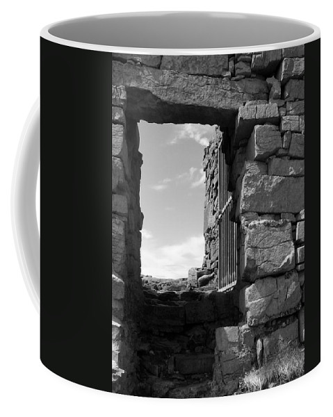Black And White Coffee Mug featuring the photograph Dun Aengus Doorway by Denise Mazzocco