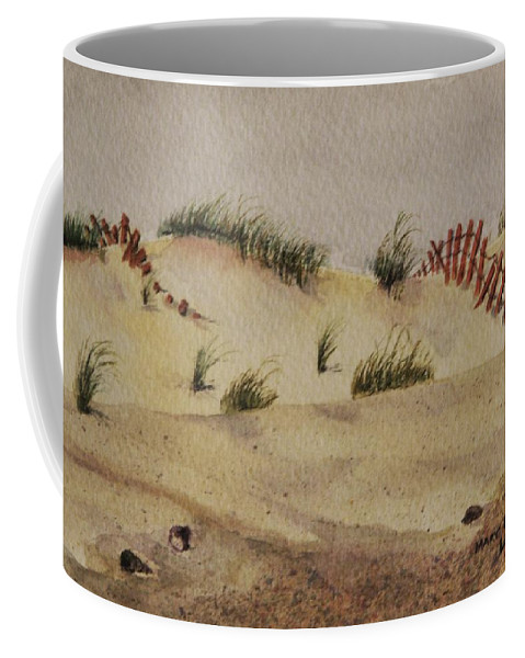 Sand Coffee Mug featuring the painting Dunes by Mary Ellen Mueller Legault