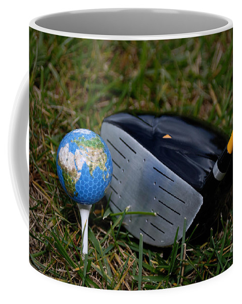 Africa Coffee Mug featuring the photograph Earth Golf Ball And Golf Club by Amy Cicconi