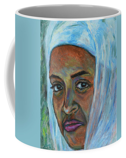 Ethiopian Coffee Mug featuring the painting Ethiopian Lady by Xueling Zou