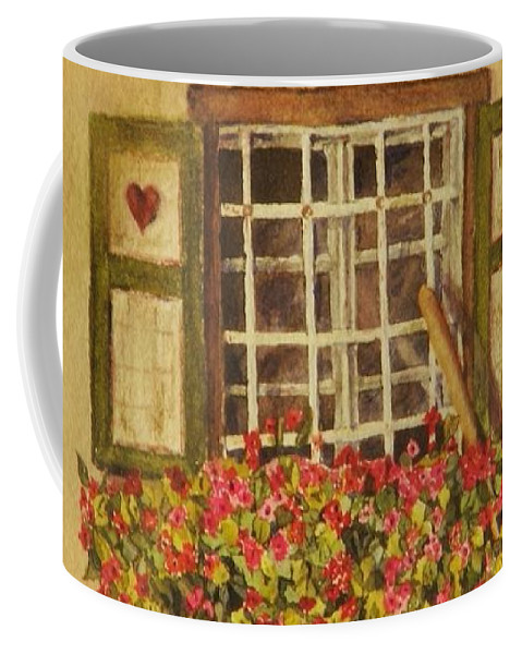 Rural Coffee Mug featuring the painting Farm Window by Mary Ellen Mueller Legault