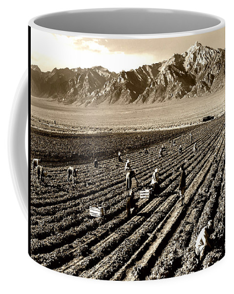 Mt Williamson Coffee Mug featuring the photograph Farm Workers And Mt Williamson 1940s by Mountain Dreams