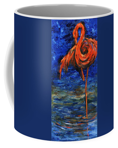 Flamingos Coffee Mug featuring the painting Flamingo by Xueling Zou