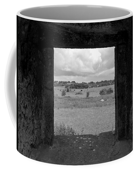 Black And White Coffee Mug featuring the photograph Framed Irish Landscape by Denise Mazzocco
