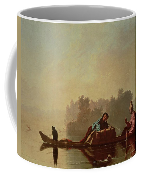 Canoe; Cat; Paddle; River; Barge; Boat; Trader; Merchant; Seller; Vendor; Trade; Transport; American Landscape; Frontier; French Settlers Coffee Mug featuring the painting Fur Traders Descending The Missouri by George Caleb Bingham