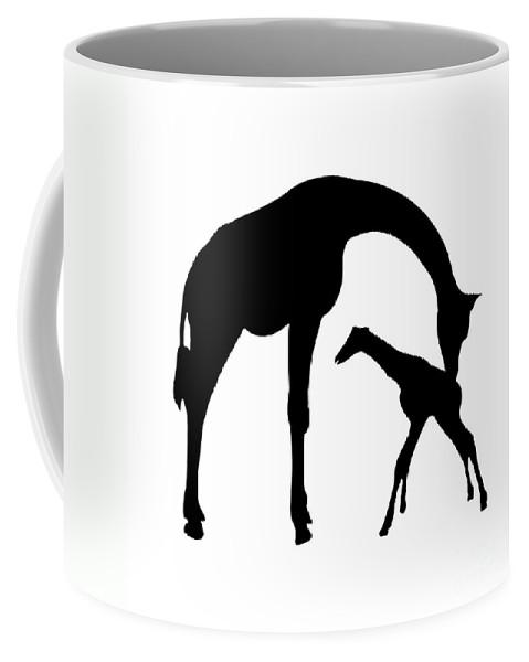Graphic Art Coffee Mug featuring the digital art Giraffe In Black And White by Jackie Farnsworth