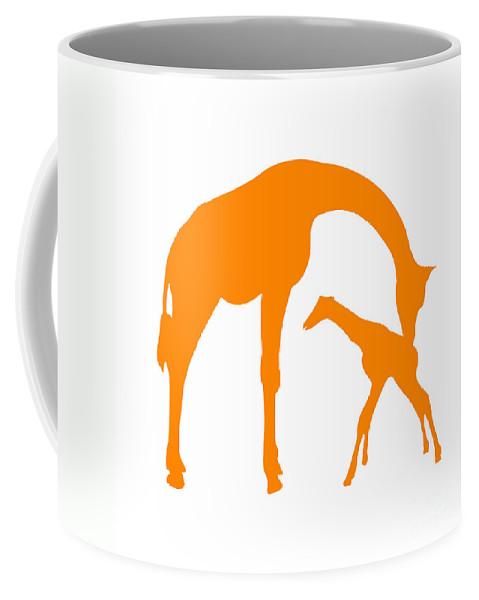 Graphic Art Coffee Mug featuring the digital art Giraffe In Orange And White by Jackie Farnsworth