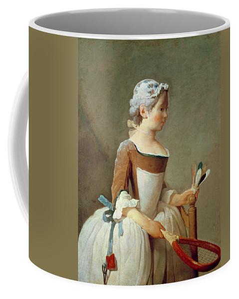 Girl With Racket And Shuttlecock Coffee Mug featuring the painting Girl With Racket And Shuttlecock by Jean-Baptiste Simeon Chardin