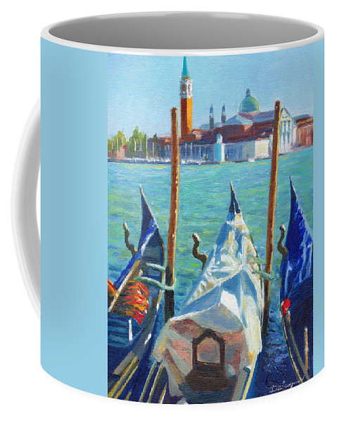 Venice Coffee Mug featuring the painting Gondolas And San Giorgio Maggiore Venice by Dai Wynn