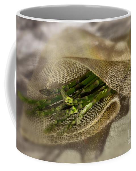 Asparagus Coffee Mug featuring the photograph Green Asparagus On Burlab by Iris Richardson
