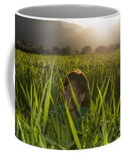 Woman Coffee Mug featuring the photograph Happy Woman by Mats Silvan